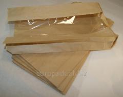 Бумажный пакет бурый крафт 290х140х50 с полипропиленовой прозрачной вставкой 60 мм