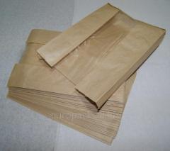 Бумажный пакет бурый крафт 310х210х50 с полипропиленовой прозрачной вставкой 80 мм