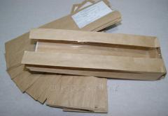 Бумажный пакет бурый крафт 310х90х50 с полипропиленовой прозрачной вставкой 40 мм