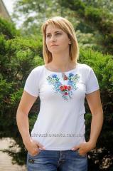 Вышитая женская футболка Васильки А-7