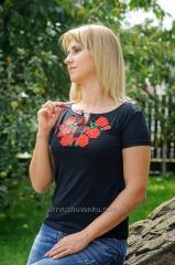 Вышитая женская футболка ЦВЕТ Розы А-14