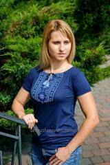 Вышитая женская футболка КОЛОРИТ А-10