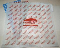 Бумага оберточная крафт белый пищевой Гамбургер 320х320