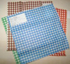 Бумага оберточная крафт белый пищевой Клетка голубая 320х320