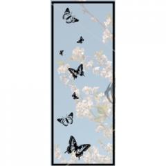Door with glass butterflies, purchased the door and bath from Ukrainian manufacturer Tesli