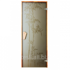 Bamboo glass door