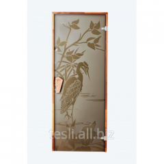 "Door to door, glass ""Heron"" for saunas, hammams"