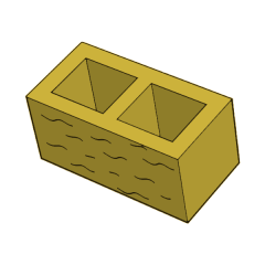 Блок заборный колотый 190 желтый