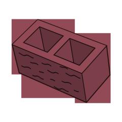 Блок заборный колотый 190 красный