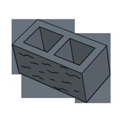 Блок заборный колотый 190 черный