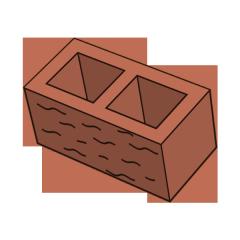 Блок заборный колотый 190 терракотовый