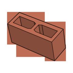 Блок заборный гладкий 140 терракотовый