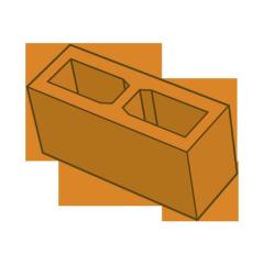 Блок заборный гладкий 140 оранжевый