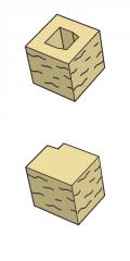 Блок заборный угловой, бежевый