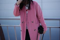 Женское розовое пальто из шерсти, женское