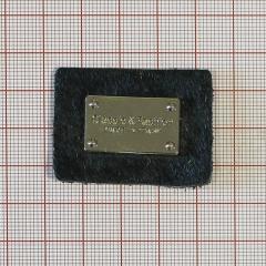 "Лейба кожа 13237 ""Табличка"" 40*30мм черн.ворс+GOLD /кит./"