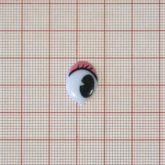 Глаз рисован. №8, овал 16*12мм, белый +красн. зрачок+реснички , 1тыс.шт.