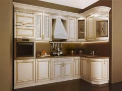 Кухня с фасадами МДФ Белый патинированный золотом,