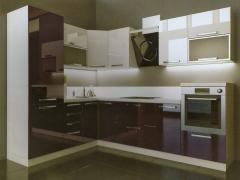 Кухня с фасадами МДФ Баклажан глянец и Белый