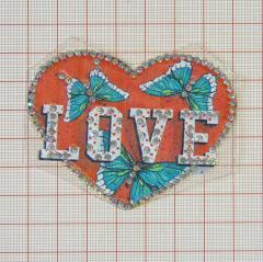 "Аппликация кл.стр. ""Сердце Love+бабочки"" красный+цв.рис.+хамелеон камни, 70*58мм /Китай/ шт"