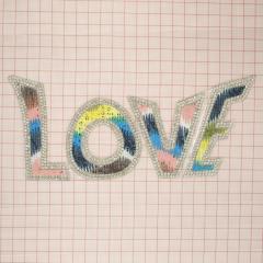"""Аппликация кл.стр. """"LOVE"""" цветной+бел.камни, 20*8,5мм /Китай/ шт"""