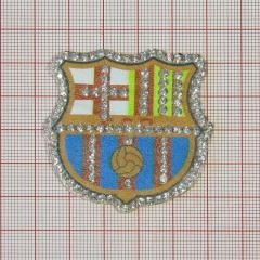 """Аппликация кл.стр. """"Барселона"""" оранж.+бел.красн.желт.син.+бел.камни, 48*50мм /Китай/ шт"""