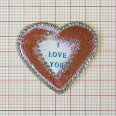 """Аппликация кл.стр. """"Сердце I love you"""" красно-розов.+т.синий+бел.камни, 55*50мм /Китай/ шт"""