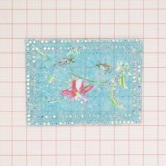 """Аппликация кл.стр. """"Кузнечики+цветок"""" 6*8см голуб.бис.+хамел.камни /Китай/ шт"""