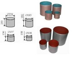 Set of the MT measured cylinders (1 l, 2 l, 5 l,
