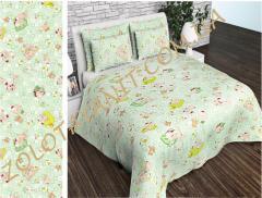 Ткань детская Бязь Gold для постельного белья Uxt549Green