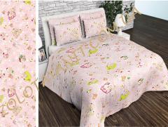 Ткань детская Бязь Gold для постельного белья Uxt-549-Pink