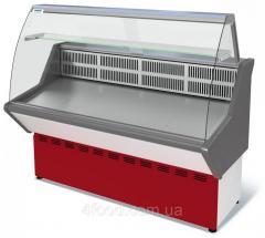 Витрина холодильная среднетемпературная ВХС-1,5 Нова с гнутым стеклом,нержавейка
