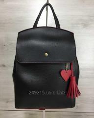 Молодежный сумка-рюкзак Кисточка черного с красным