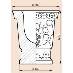 Модель для вазы из мрамора, гранита или травертина