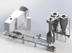 Thermal drying installation for production pelle