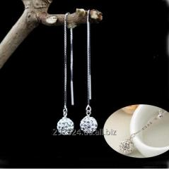 Серьги с цирконами из стерлингового серебра 925 пробы (код 1057)