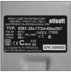 Marking stickers of the passive equipment Etisoft,