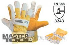 MasterTool Перчатки комбинированные из замши и ткани, усиленная ладонь, 10,5