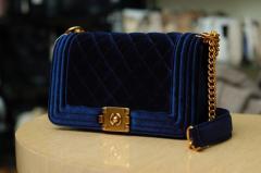 Синяя велюровая сумочка