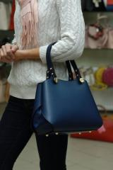 Синяя кожаная стильная женская сумка