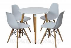 Комплект стол + 4 стула белый круглый