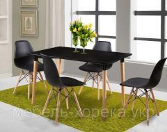 Комплект черный 120 х 80 стол + 4 стула
