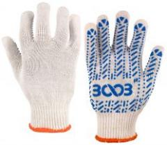Перчатки 3003 трикотажные с ПВХ точкой 10кл. COMFORT белые (24022)