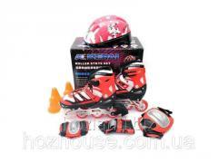Ролики детские со шлемом и защитой Kepai F1-K9 (S, M и L) красные