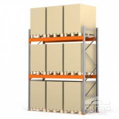 Стеллажи паллетные 3500(h)х2700х1100 мм (пол + 2 яр. х 3030 кг)