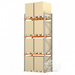 Стеллажи паллетные 4500(h)х1800х1100 мм (пол + 3 яр. х 1190 кг)
