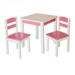 Эко набор Стол деревянный и 2 стульчика Fenster Юниор Розовый