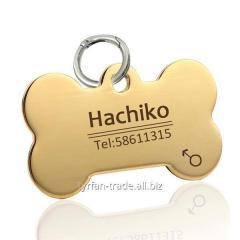 Адресник для собак косточка под золото (изготовление за 1 час в киеве на оболоне)