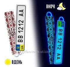 Брелки для авто с номером твоего авто светящиеся в темноте ярким неоновым свечением (изготовление 1 час)