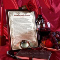 Diplomas and certificates on metal
